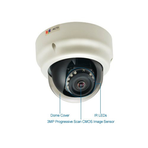 acti b53 3mp indoor ir dome ip security camera