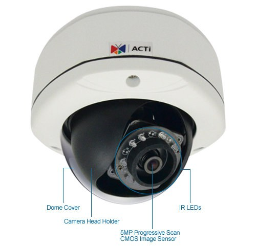 acti e73 5 megapixel ir day/night wdr ip security camera