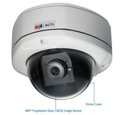 acti kcm-7111 outdoor 4 megapixel dome security camera