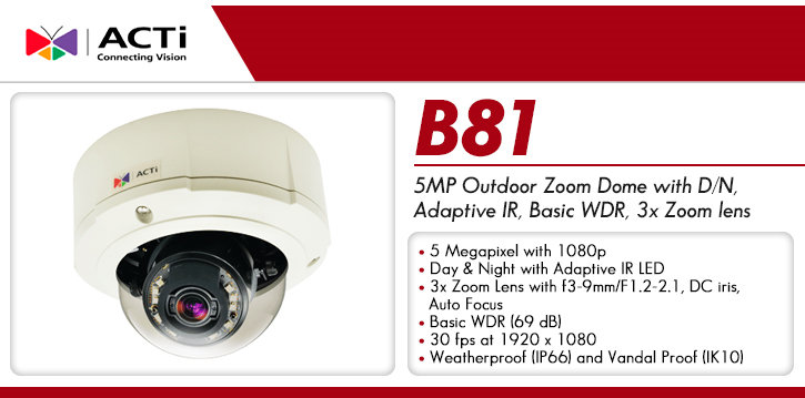 acti b81 outdoor 5mp ir dome ip camera - zoom lens