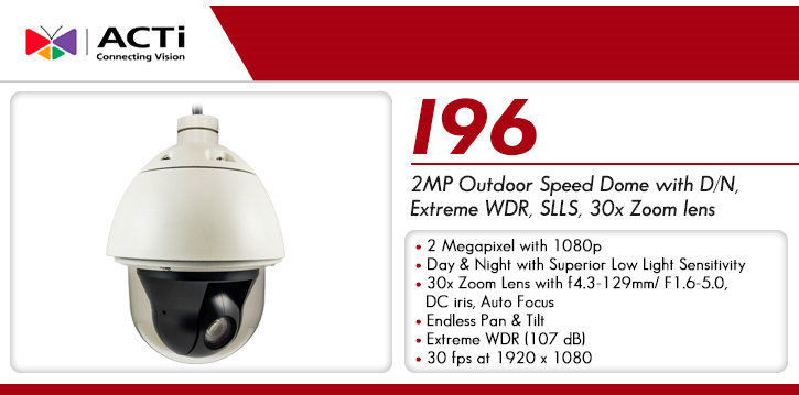 acti i96 2mp wdr outdoor 30x ptz dome ip security camera