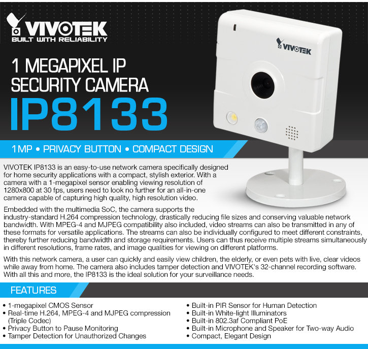 vivotek ip8133 1 megapixel ip security camera