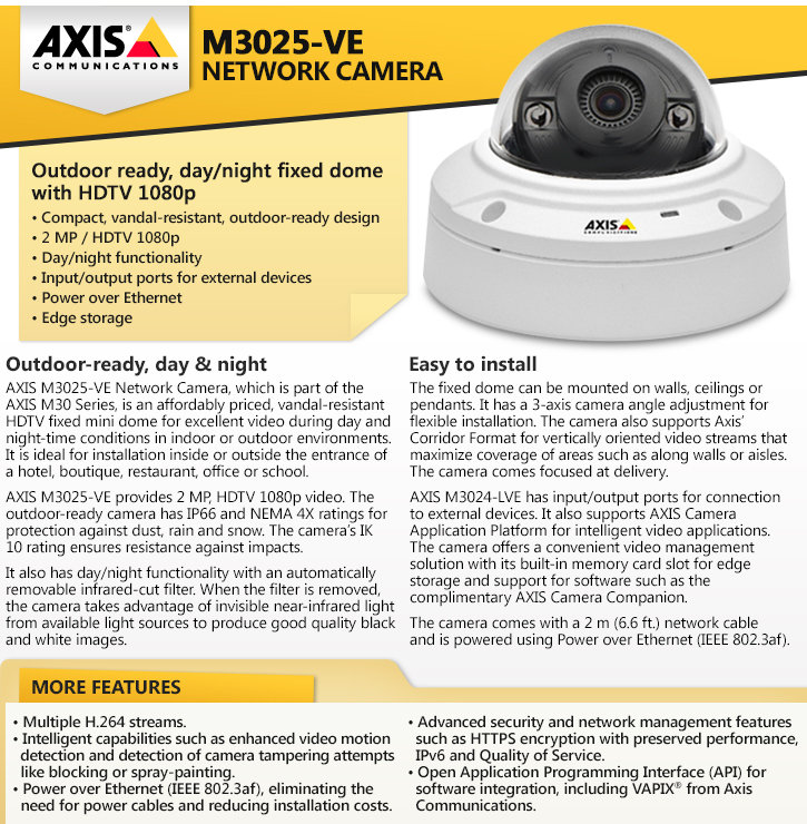 AXIS M3025-VE 1080P HD Outdoor Dome IP Security Camera