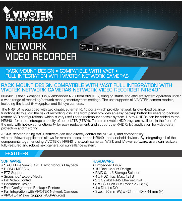 Vivotek NR8401 16-camera Network Video Recorder - Linux