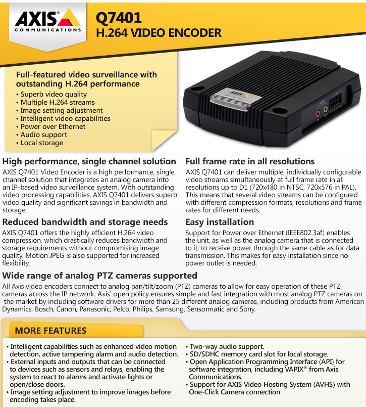 axis q7401 h.264 video encoder