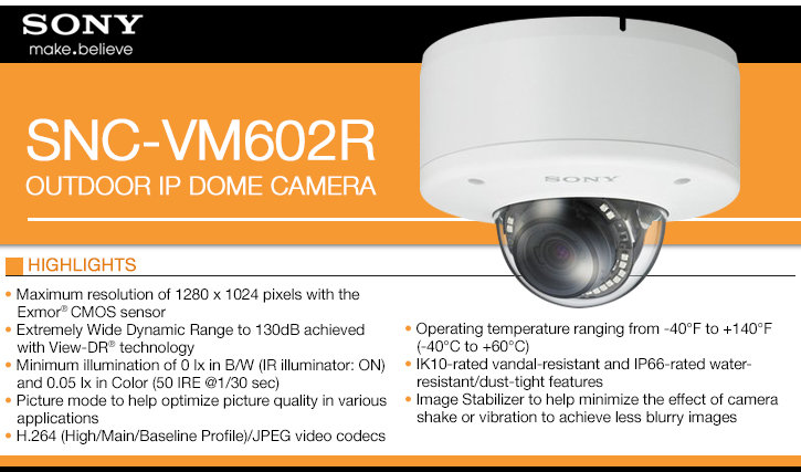 sony snc-vm602r outdoor ip dome camera - 720p at 60 fps