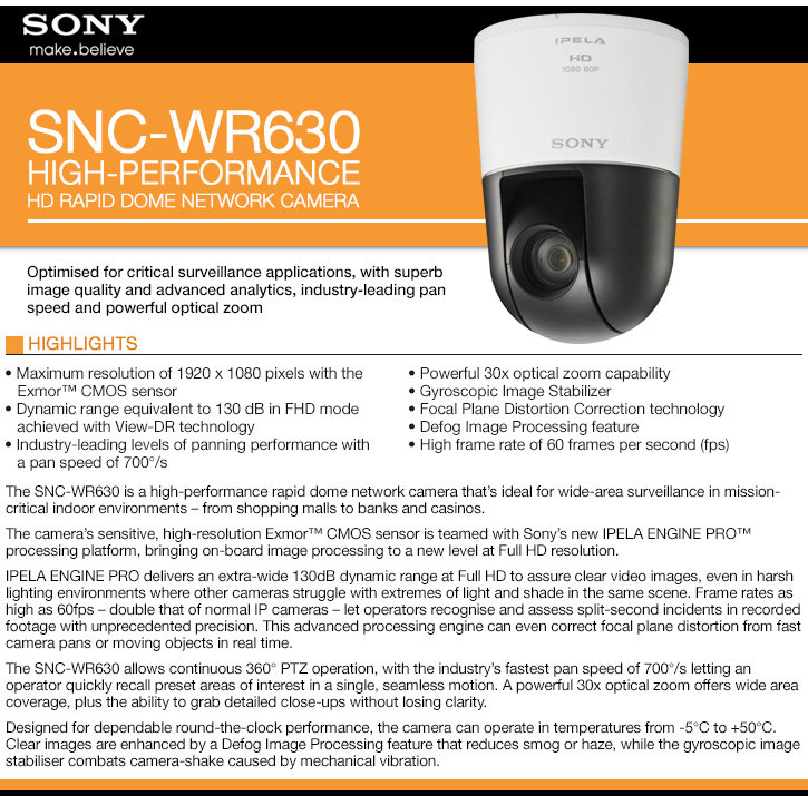 sony snc-wr630 1080p hd indoor 30x rapid dome ip camera