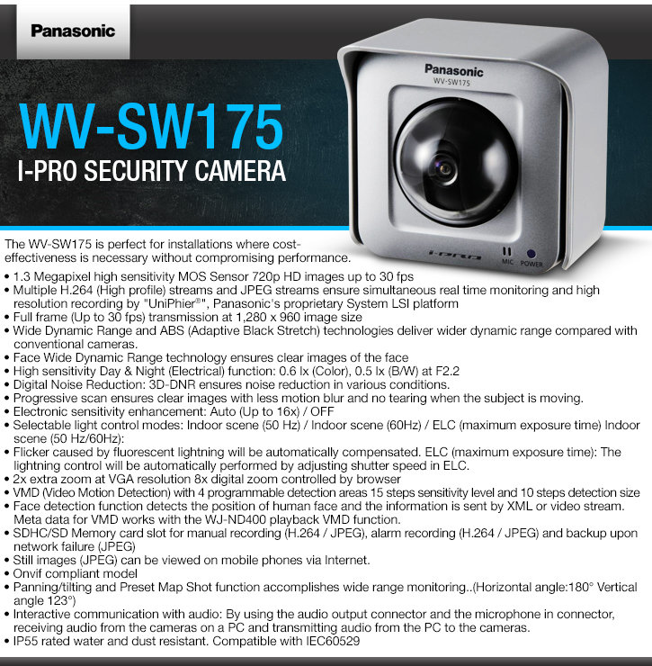 panasonic wv-sw175 i-pro security camera